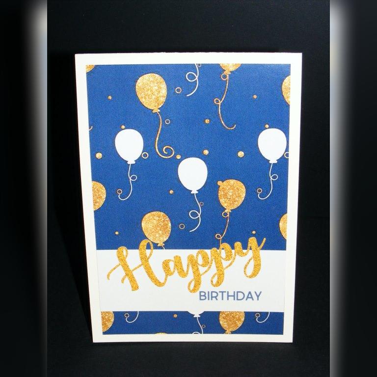 Bastelecke: Geburtstagskarte #54 (zum 33. / blau, creme, gold